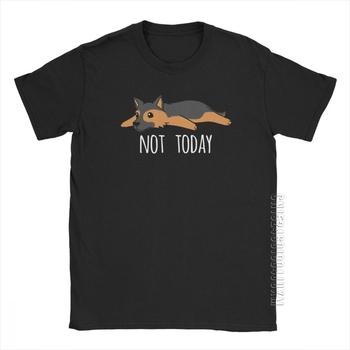 Śmieszne nie dziś owczarek niemiecki Vintage T Shirt mężczyźni designerskie topy koszulki z nadrukami oczyszczona bawełna wokół szyi t-shirty tanie i dobre opinie CINESSD SHORT CN (pochodzenie) CREW NECK Regular Short Sleeve Sukno COTTON HIP HOP W stylu rysunkowym 100 Premium Cotton