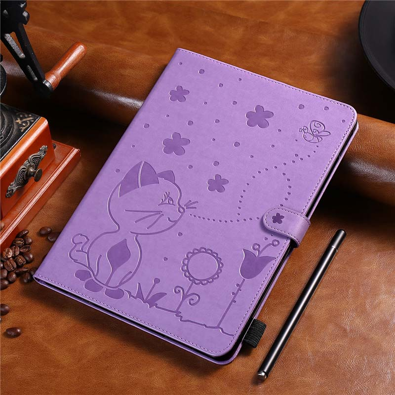 Leather TPU Case Cat And Bee Print Tablet Case Stand Back Cover For Samsung Galaxy Tab A 9.7 T555 T550 SM-T550 Case KS0704