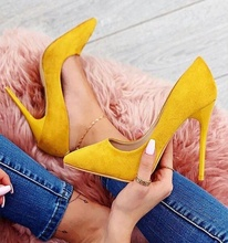 Suede High Heel Female Pumps Pointed Toe Slip On Dress Woman Spring Fall Shoes Flock Material High Quality Solid Pumps