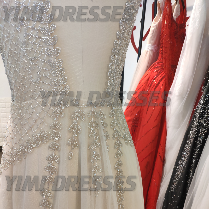 Image 5 - Beaded Long Prom Dresses 2019 Luxury Vestidos De Gala Sexy Backless V neck Tulle Party Formal Gowns Evening Party For Women-in Prom Dresses from Weddings & Events