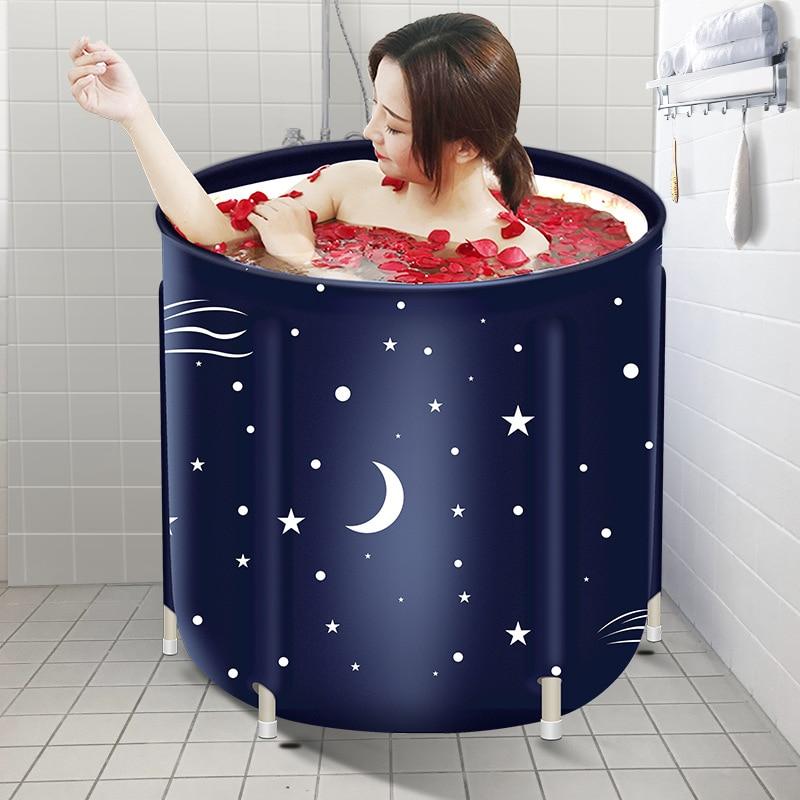 Portable Foldable Bathtub Thickened Adult Inflatable Bathtub Home Single SPA Massage Pool Plastic Bathing Bucket High Quality