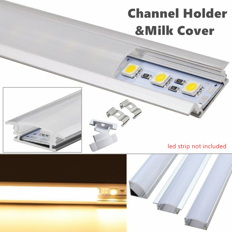 50cm LED Bar Lights Aluminum Channel Holder Milk Cover End Up Lighting Accessories Lampshade For LED Strip Light Lamp Covers