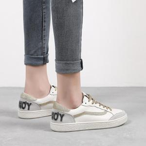 Image 4 - 3 Colors Women Casual Shoes Comfortable Gold Black Sneakers Fashion Lace Up Leather Flats Shoes