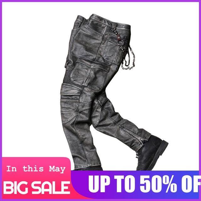 2020 Vintage Grey Men Biker's Leather Trousers Large Size XXXXL Genuine Cowhide Autumn Slim Fit Motorcycle Leather Pants 1