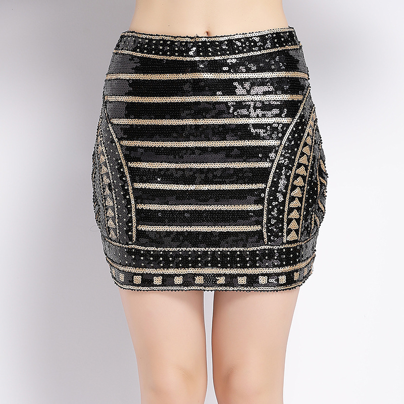 Photo Shoot Europe And America New Style Industrial Sequin Beaded Dress Blingbling High-waisted Sheath Short Skirt
