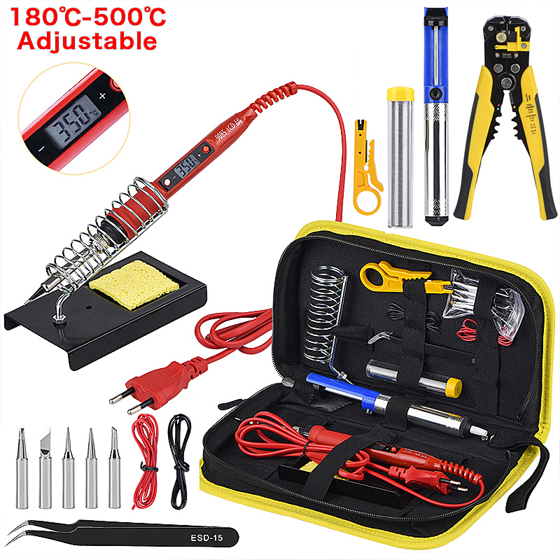 JCD Soldering iron kit with Wire Stripper 220V 80W LCD solder welding tools Ceramic heater Multifunctional Stripping Pliers