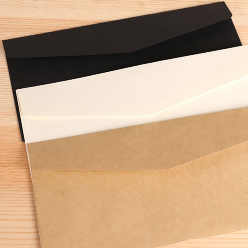 10PCS Classical White Black Kraft Blank Mini Paper Window Envelopes Wedding Invitation Envelope Gift Envelope