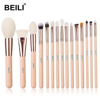 BEILI Matte Pink Makeup Brushes Set goat hair Powder Foundation Concealer Blush Eyeshadow rose gold natural hair Make up brushes 9