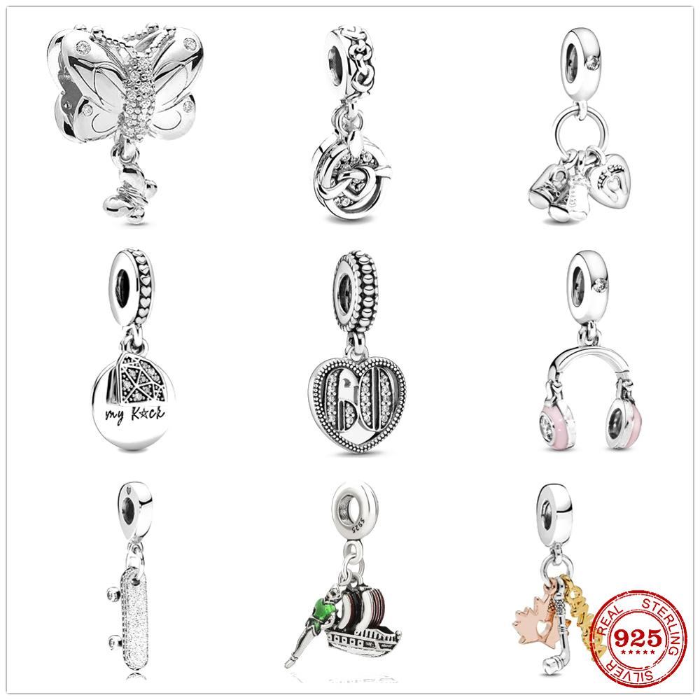 925 Sterling Silver Baby Bottle & Shoes Bicycle 60 th Dangle Pendant DIY fine beads Fit Original Pandora Charm Bracelet Jewelry(China)