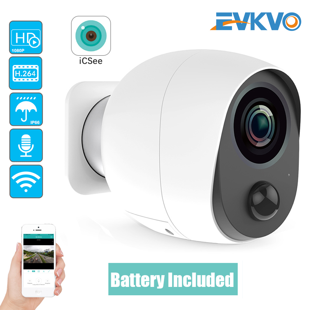EVKVO 1080P ICSEE Outdoor Battery Wifi Camera IP Battery Security Camera Wireless Battery Camera Surveillance 2MP Waterproof Cam