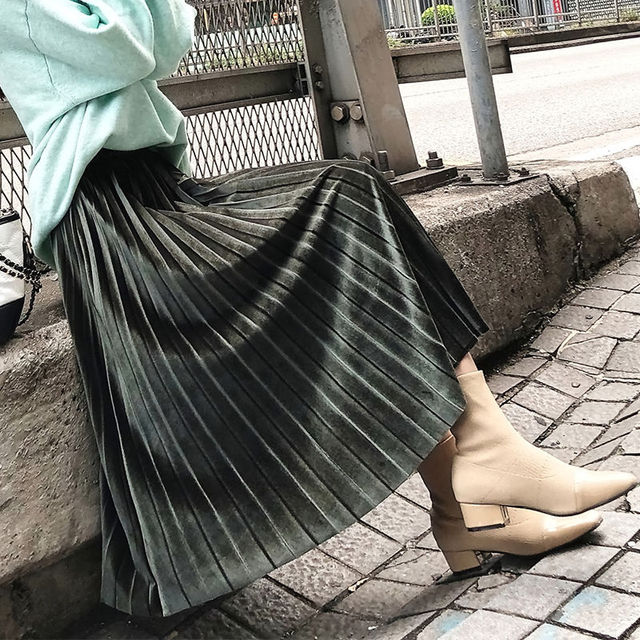 velvet Pleated skirt women's Autumn Winter Vintage black skirts womens faldas mujer moda 2019 Long Maxi High Waist Party Skirt 5