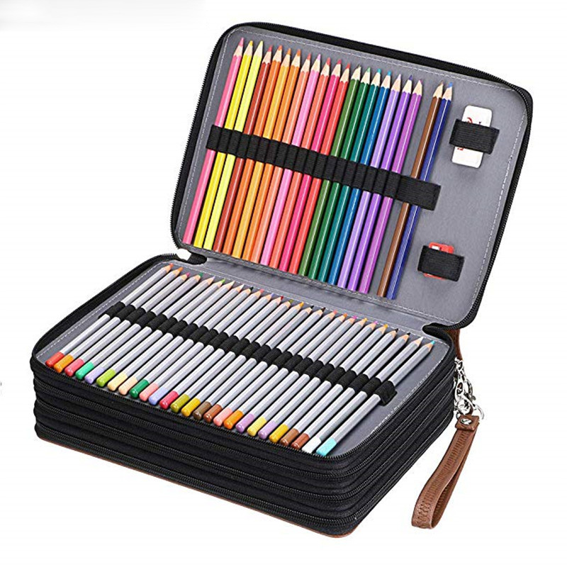 200 Holes Pencil Case School Large Cartridge For Girls Boys Pencilcase Big Pen Box Stationery Bag Black Penal Storage Pouch Kit