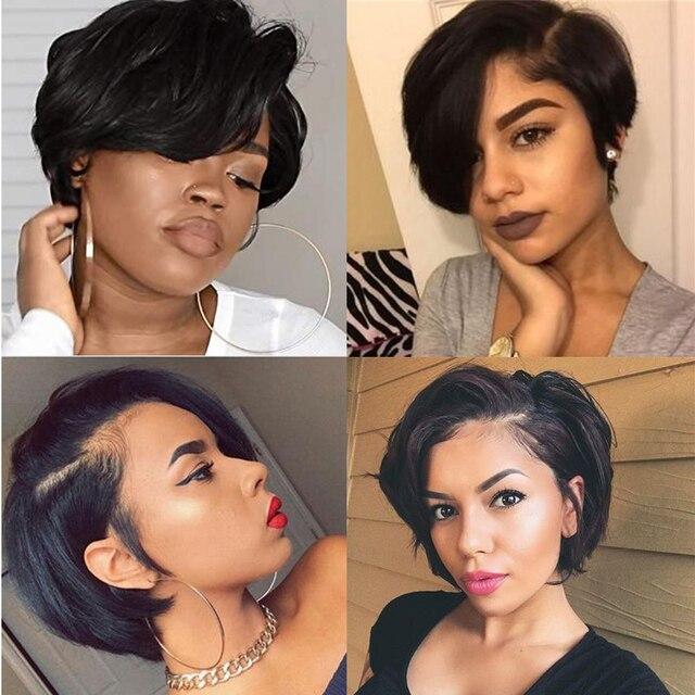 Fryzura Pixie peruka ludzki włos koronki przodu peruki 150% Remy brazylijski włosy PrePlucked włoskowate bielone węzeł faliste naturalny czarny kolor tanie