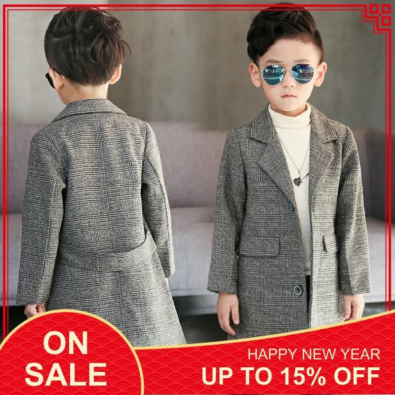 Grande taille enfants Long costume Plaid manteau 2019 printemps automne garçons britannique treillis pardessus adolescent enfants beau coupe-vent X315