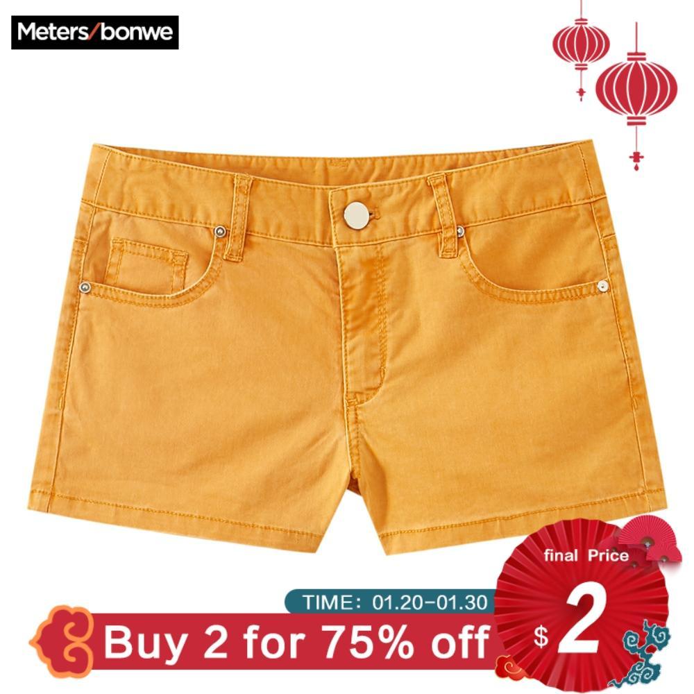 Metersbonwe Europe Multicolor Denim Shorts For Women 2019 New Brand Trendy Slim Casual Womens Sexy Low Waist Shorts