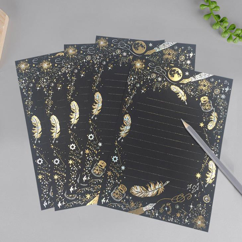 8 Pcs/set Vintage Gilding Feather Star Letter Paper Set Stationary Writing Gift Letters Wedding Mini Envelopes For Invitations