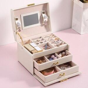 Image 1 - גדול תכשיטי אריזת קופסות ארון הלבשה חזה עם נועלים צמיד טבעת ארגונית נשיאת מקרים עם 2 מגירות 3 שכבות