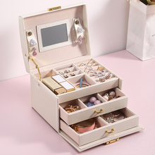 Large Jewelry Packaging Boxes Armoire Dressing Chest with Clasps Bracelet Ring Organizer Carrying Cases with 2 Drawers 3 Layers