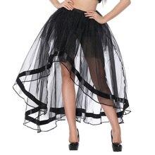 Topmelon longo espartilho steampunk saia sexy tule transparente malha saias para feminino preto gótico saias para shows de festa