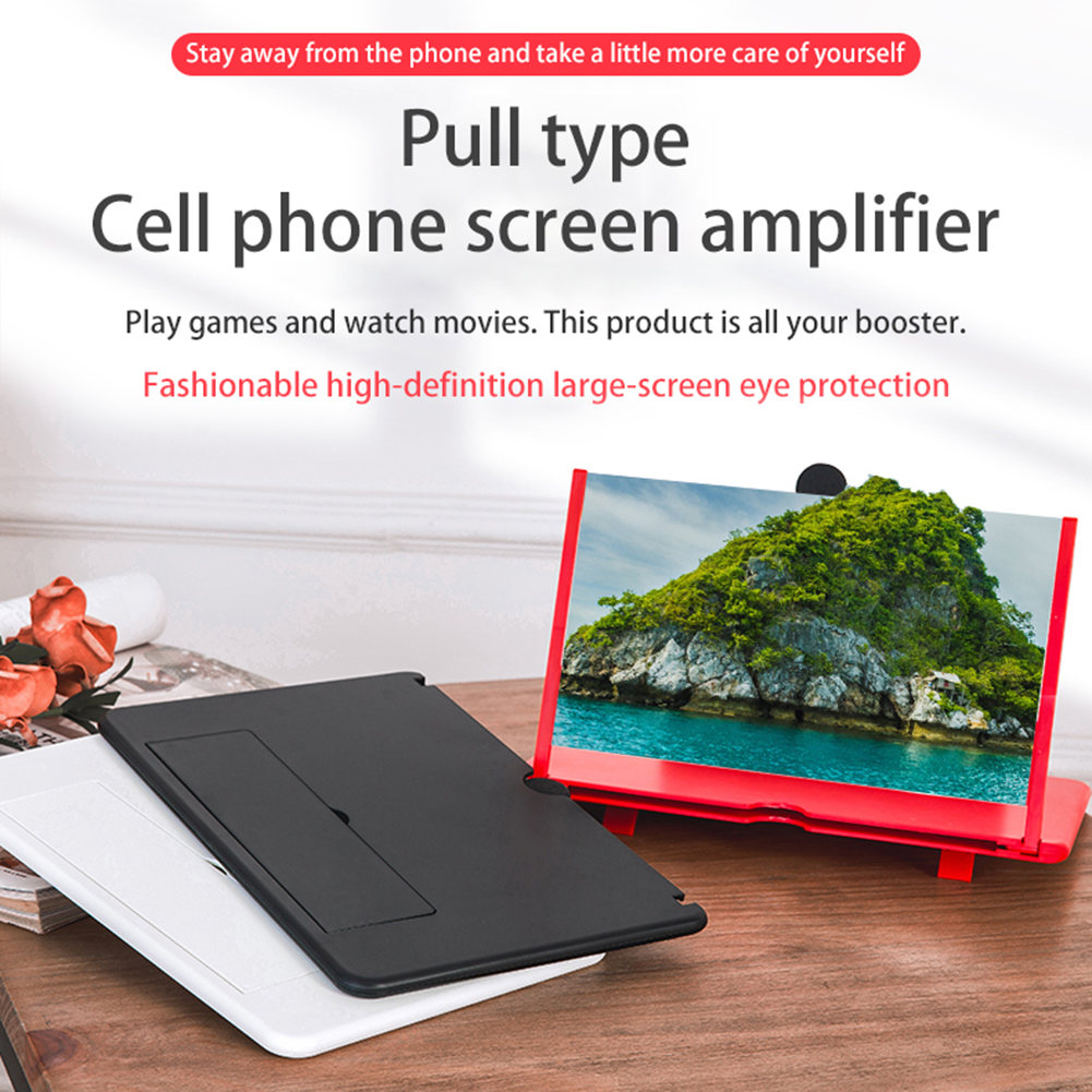 12 inch 3D Mobile Phone Screen Magnifier HD Video Amplifier Stand Bracket with Movie Game Magnifying Folding Phone Desk Holder