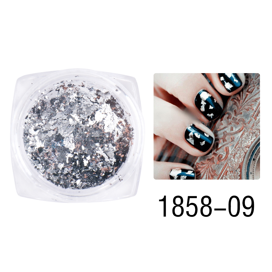 1 Box Gold Glitter Flakes Irregular Aluminum Foil Sequins For Nails Chrome Powder Winter Manicure Nail Art Decorations LY1858-1 37