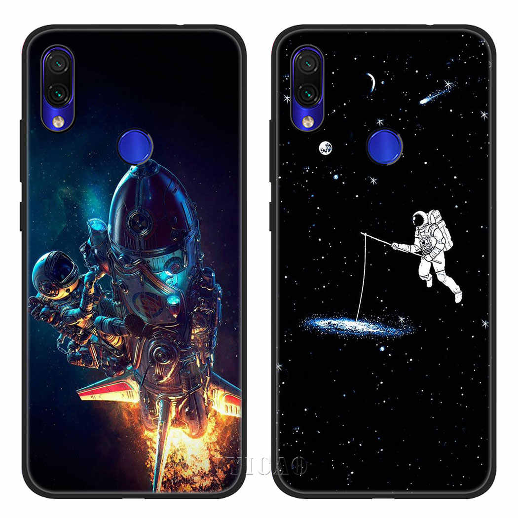 IYICAO Space นักบินอวกาศดวงจันทร์ซิลิโคนนุ่มกรณีสำหรับ Xiaomi Redmi หมายเหตุ 4X5 6 7 8 Pro 5A Prime กรณี