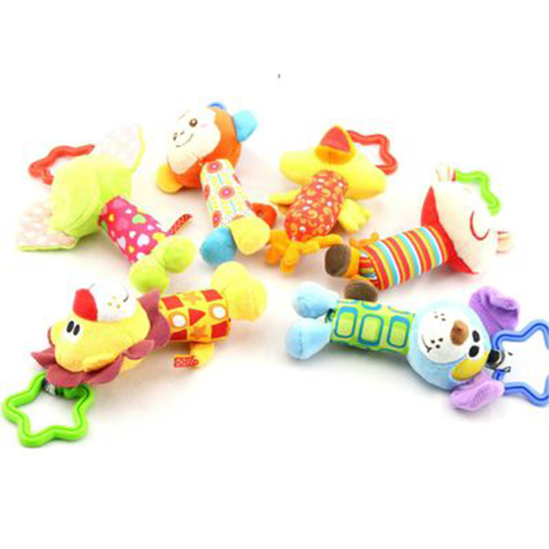 Baby Cartoon Animal Rattle Toys Infants Stroller Crib Hanging Rattles Kids Plush Hand Bell Newborn Bed Hanging Cute Hand Rattle