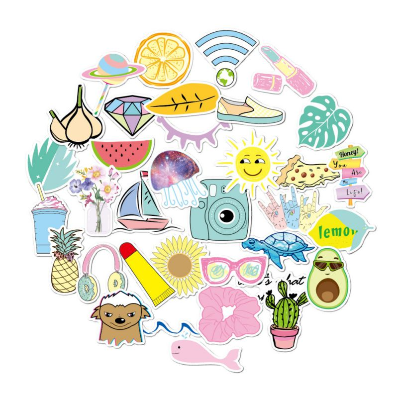 35PCS Vsco Stickers Pack For Kawaii Girl Things On Laptop Fridge Phone Skateboard Suitcase Waterproof Sticker