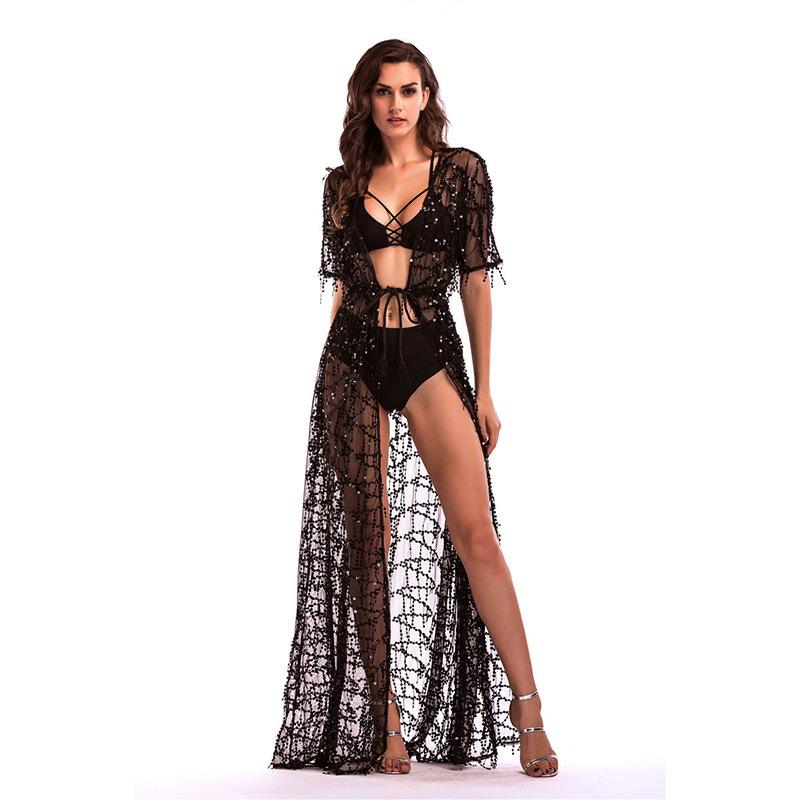 Hot Selling 2017 Europe And America Sequin Formal Dress Short Sleeve Sexy Perspective Women's Long Dress