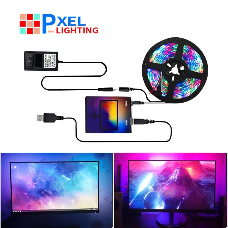 Светодиодная лента WS2812b для подсветки телевизора, экран «сделай сам» для HDTV, монитор для компьютера, питание от USB, Светодиодная лента, подсв...