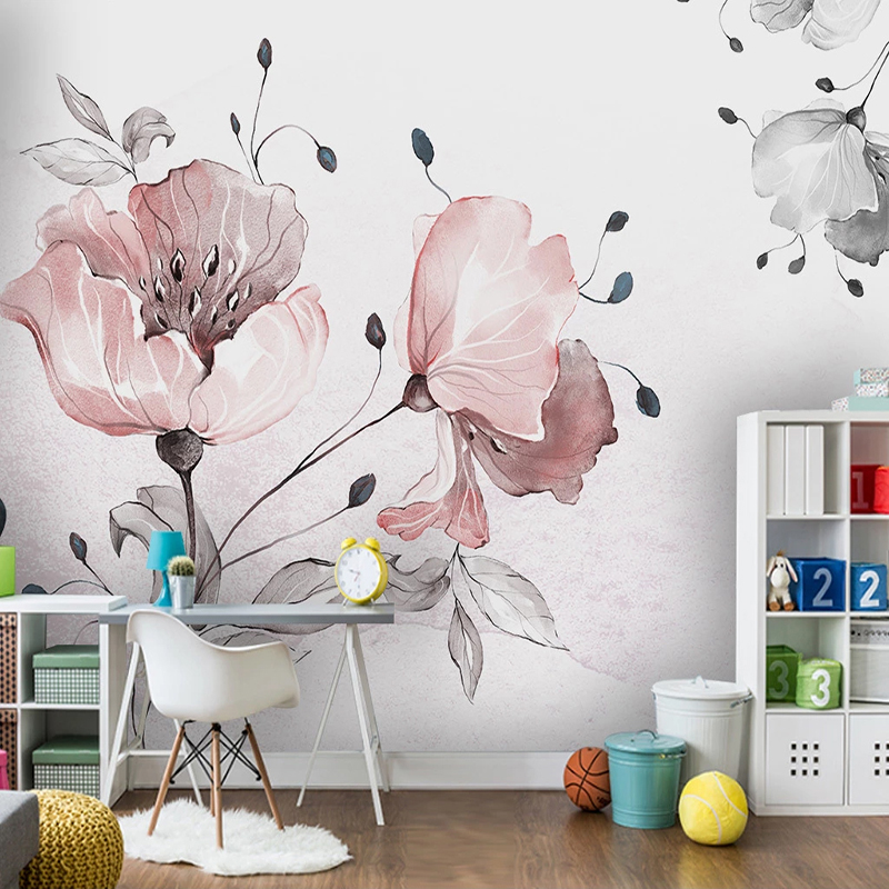 Custom Wall Mural Waterproof Canvas Wallpaper Hand Painted Floral Flowers Art Wall Painting Living Room Bedroom Background Paper