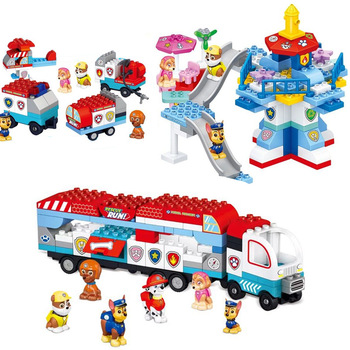 Paw Patrol toys set Building Blocks car Mobile rescue paw patrol dog City deformation childrens toy birthday gifts