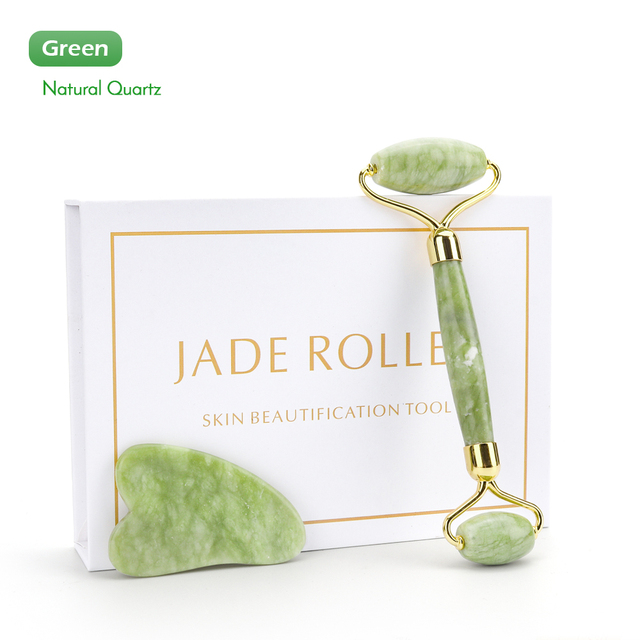 Natural Xiuyu Facial Massage Roller Guasha Scraping Board Set Double Heads Jade Stone Face Lift Body Slim Neck Thin Lift Tools