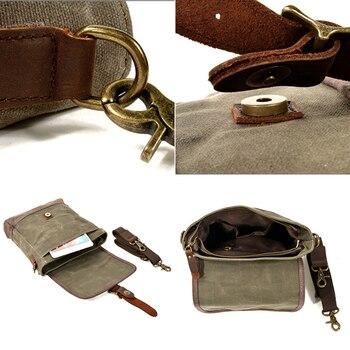 SCIONE Men Oil Wax Canvas Leather Crossbody Bag Men Military Army Vintage Messenger Bags Shoulder Bag Casual Travel Bags 5