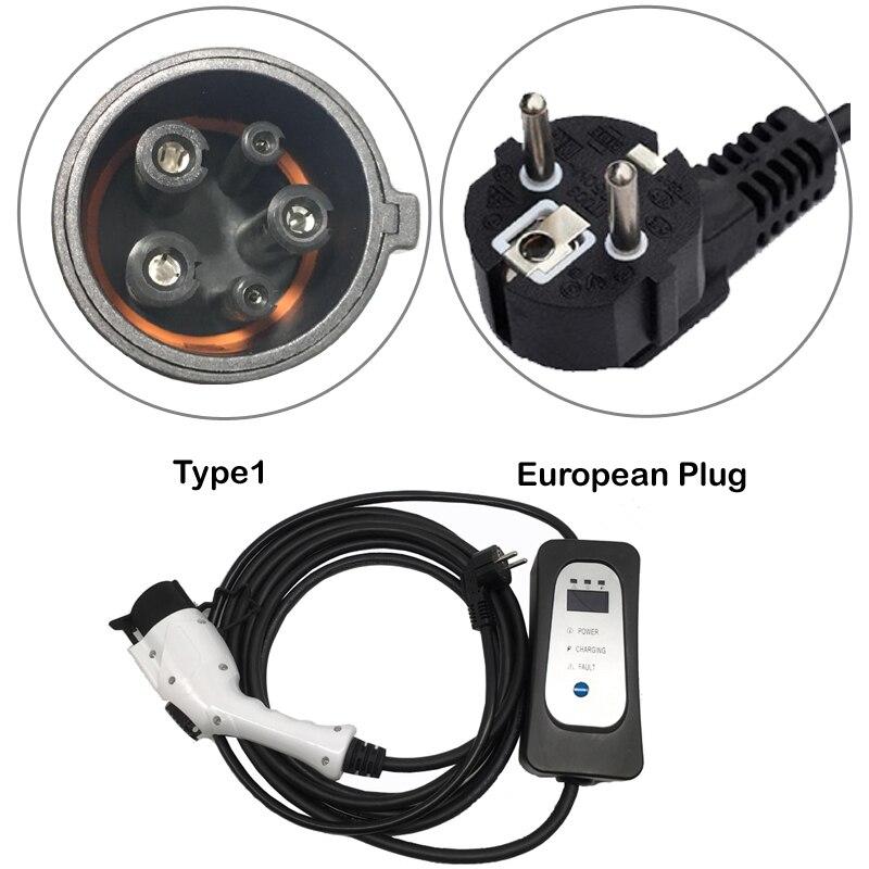 Vehicule électrique Chargeur ev Type 1 J1772 avec prise murale EU prise 5.5M EV câble niveau 2 mode ca 2 niveau 2 16A courant modifiable!