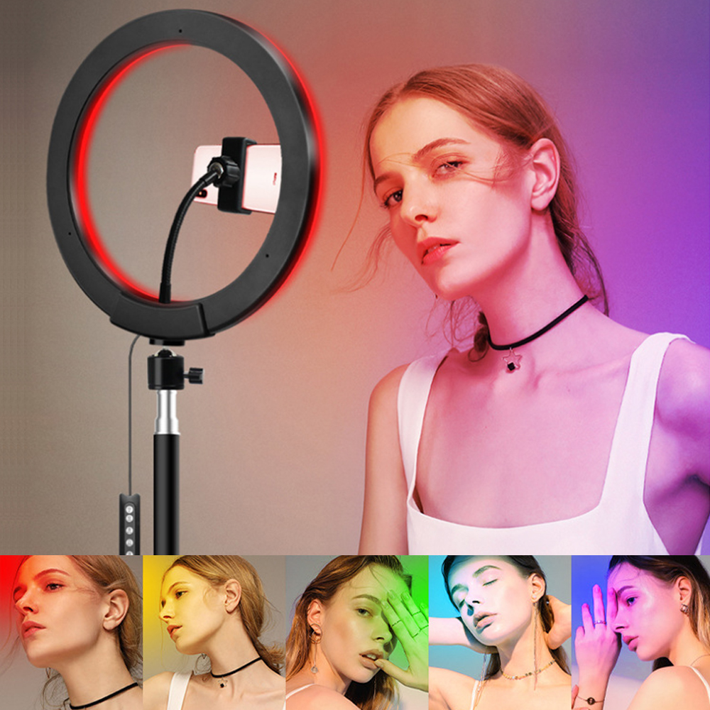 10   RGB Ring Light With Phone Tripod Stand Kit Camera Photography Video Recording Selfie LED light with Tablet Holder