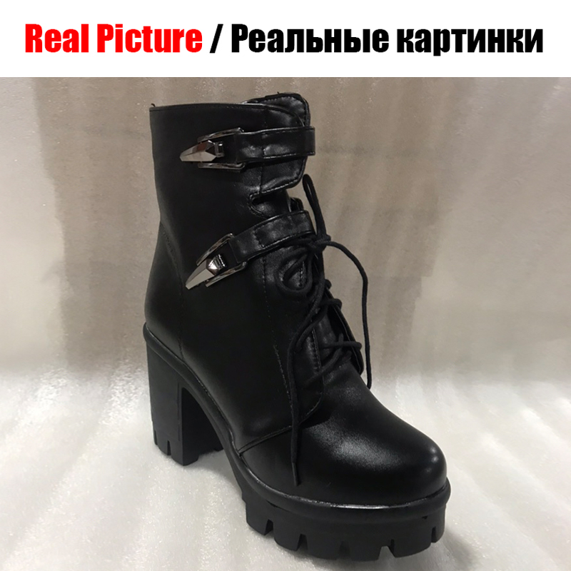 BONJOMARISA nouveau grande taille 34 43 Beige à lacets chaussons dames plate forme bottines femmes 2020 hiver talons hauts chaussures femme