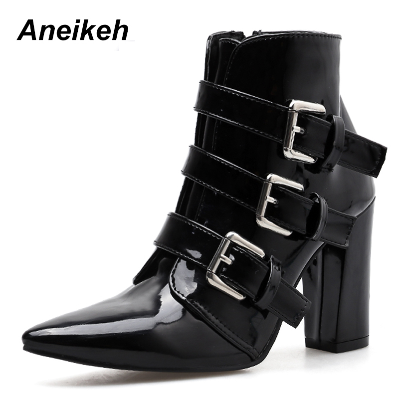Aneikeh New 2019 Fashion PU Women Boots Zipper Buckle Thin High Heels Shoes Party Dance Ankle Boot Pointed Toe Black Size 35-40