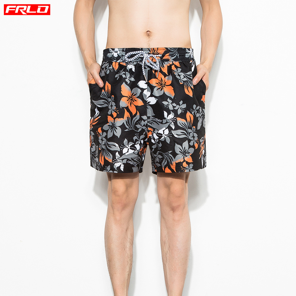 Seaside Holiday Beach Shorts Men's Hot Springs Waterproof Loose-Fit Quick-Dry Swimming Four Flower Shorts Comfortable Black Pant