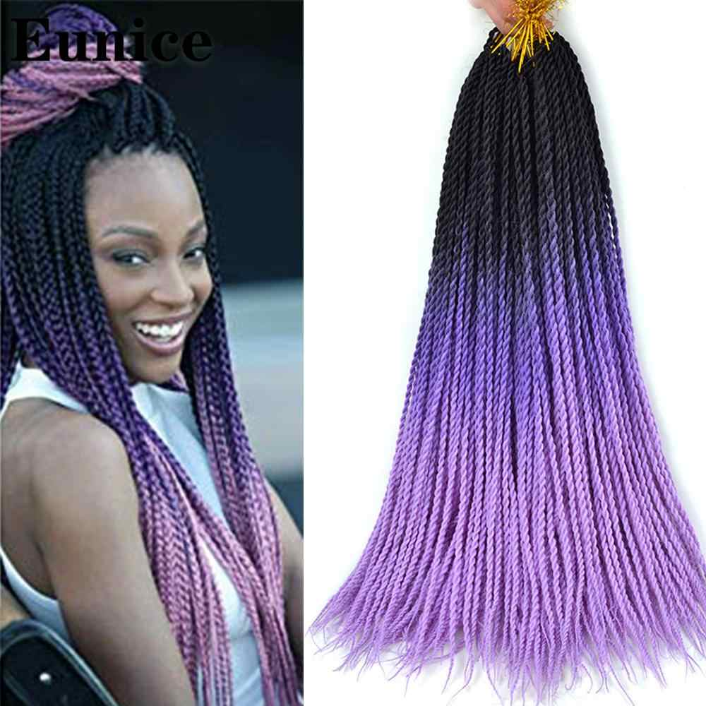 Long Senegalese Twist Braids Crochet Braid Hair Extensions Eunice Black Brown Pink Hair For Women Ombre Synthetic Braiding Hair