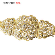 SUNSPICEMS Free Shippping Moroccan Pansy Caftan Wedding Gold Silver Color Metal Belt For Women Crystal Waist Chian Body Jewelry