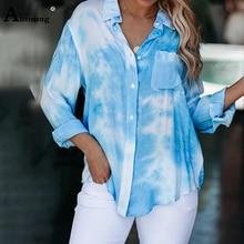 Aimsnug 2020 Summer Blouse Tie dye Elegant Print Turn-down Collar Women