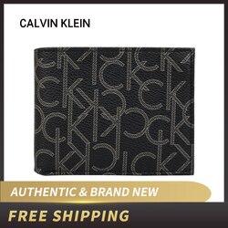 الأصلي الأصلي والعلامة التجارية الجديدة الفاخرة CK كالفن كلاين الرجال الأسود/البني المحفظة مع CK شعار 79544