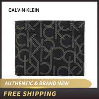 Authentische Original & Brand neue Luxus CK Calvin klein männer Schwarz/Braun Brieftasche mit CK logo 79544