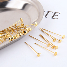 6pcs copper-plated real gold heart-shaped star t-pin jewelry needle ear ornament earring for girls material jewelry accessories