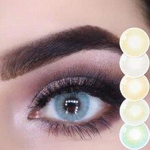 2 pces/1 par cinza miopia colorido lentes de contato para os olhos aurora europa seriers lentes com diopters lentes coloridas anualmente uyaai