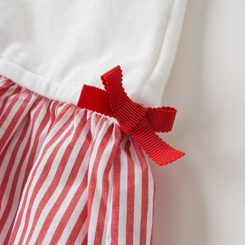 DBK10672 dave bella automne 5Y-13Y enfants vêtements enfants doux arc dessin animé rayé T-shirt filles de haute qualité mode t-shirts - 5