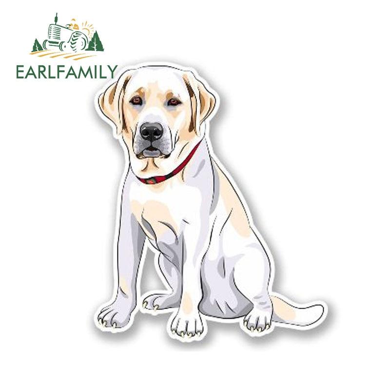 EARLFAMILY 13cm X 10cm Cartoon Labrador Dog Decal Personality Car Styling Cute Animal Car Sticker Vinyl Waterproof Decal Graphic