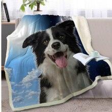Cartoon Throw Blanket 3D Printed Dogs Velvet Plush Sofa Sherpa Fleece Coral Microfiber Couch Cover Manta Drop Shipping