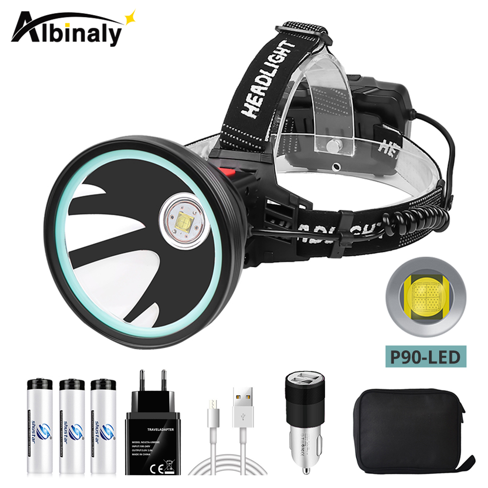 Large Aperture LED Headlamp With P90 LED Bead + IR Sensor Switch 3 Lighting Modes Uses 3 X 18650 Batteries Suitable For Outdoor